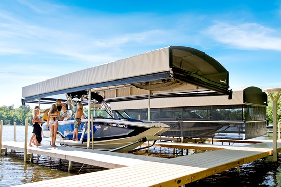 Boat Lift with Revolution Series Canopy and ShoreScreen